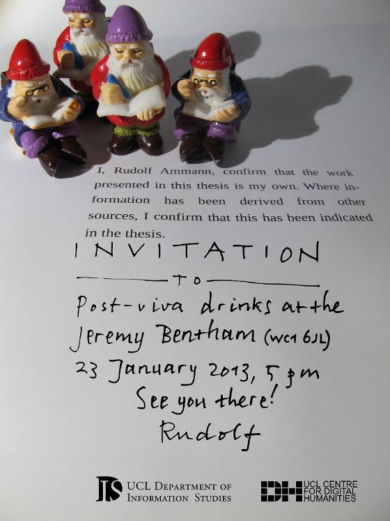 invitation to post-viva drinks at the Jeremy Bentham, 23 January, 5 pm